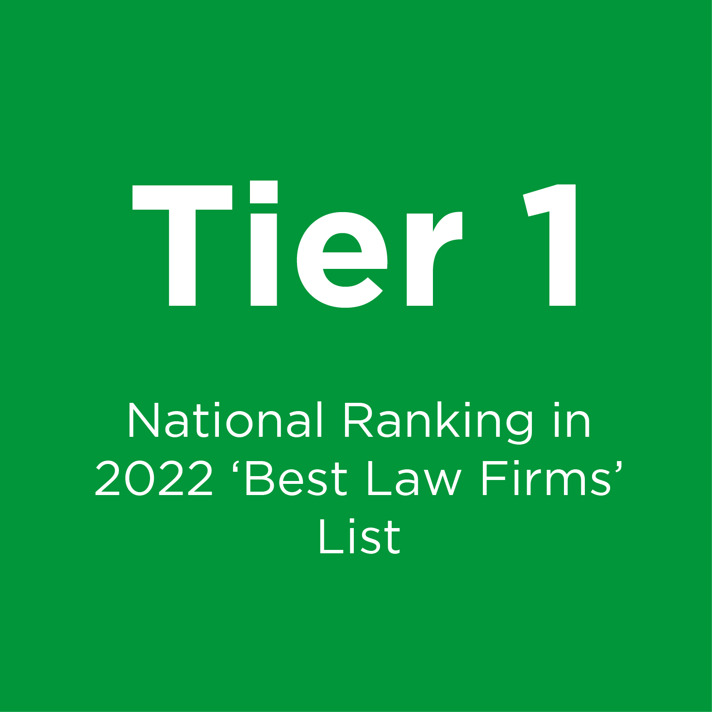 Tier 1 Ranking from U.S. News - 2020